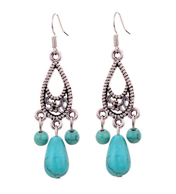 YAZILIND Jewelry Charming Teardrop Drop Dangle Earrings for Women & Girls vintage - CH11HD2XHMN