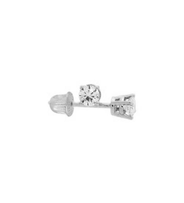 Tiny 14k Gold Round 2mm CZ Solitaire Stud Screw-back Earrings- Cartilage or Second Hole Piercing - CB11MW2JN4F