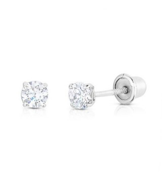 Solitaire Screwback Earrings Cartilage white gold