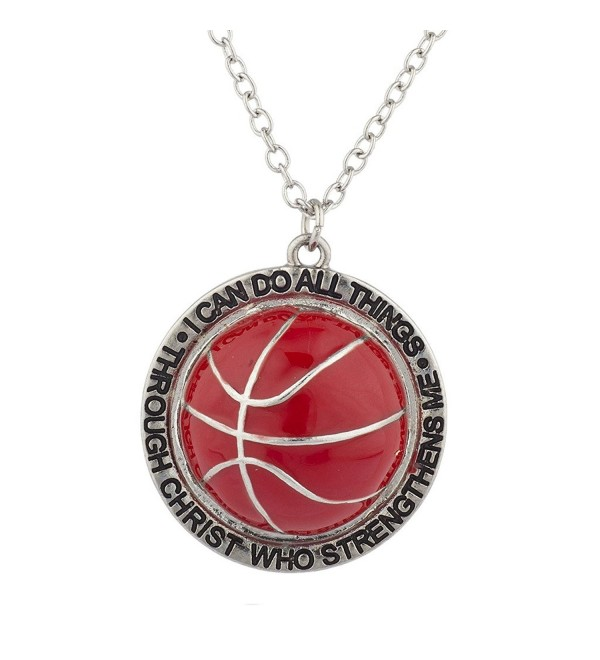 Lux Accessories Silver I Can Do All Things Religious Basketball Charm Necklace - CP17YSOGGCQ