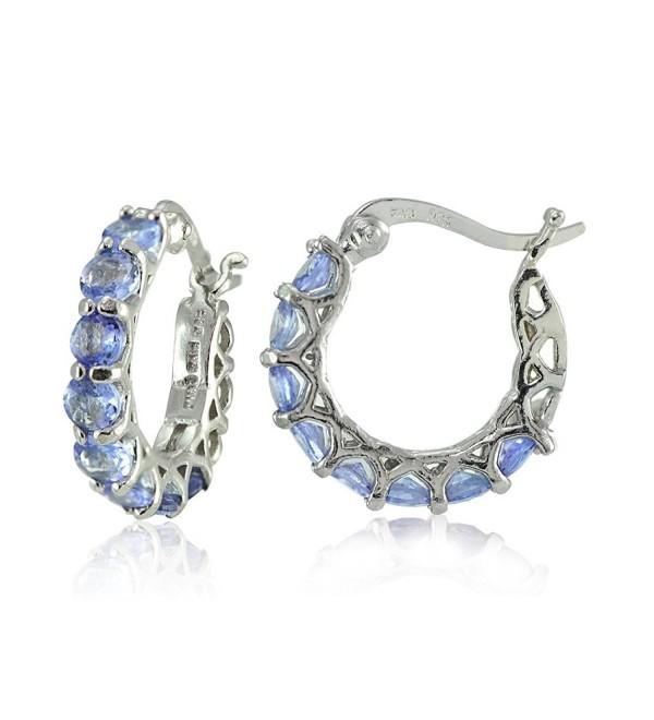 Sterling Silver Tanzanite Small Round Huggie Hoop Earrings - C4183OE9YDR