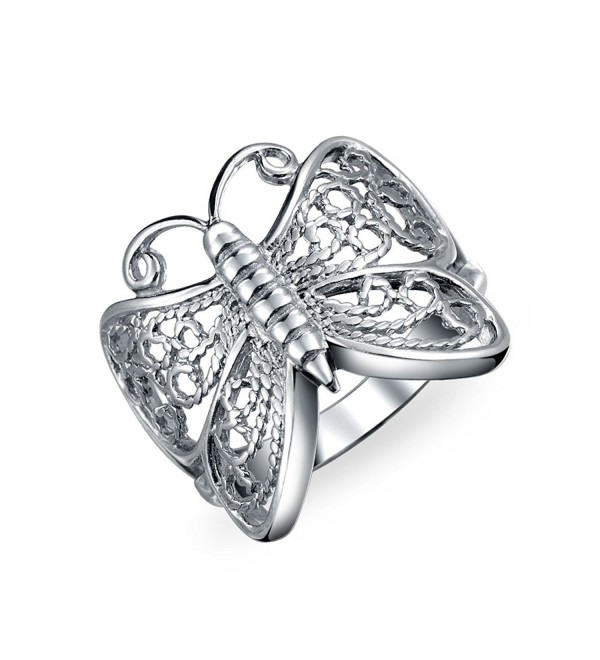Bling Jewelry Open Band Butterfly Filigree Sterling Silver Ring - CJ113Z3CP4F