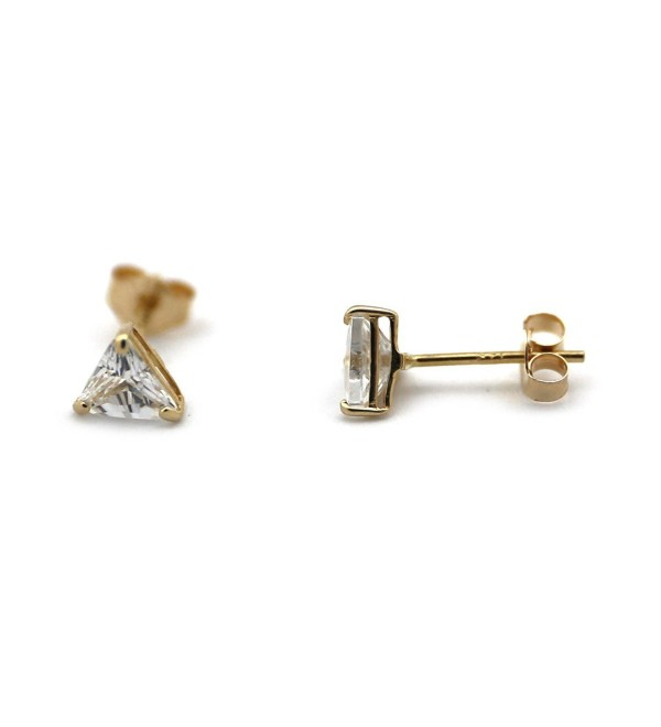 14k Yellow or White Gold Small 4mm Cubic Zirconia Triangle Stud Earrings - C812956PF8D