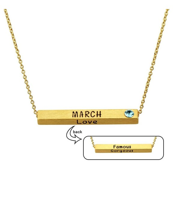 "Miraclelove Gold Chain Crystal Necklace Birthstone Personalized Pendant Bar Necklace- 18"" - C6182S8OD7Q"