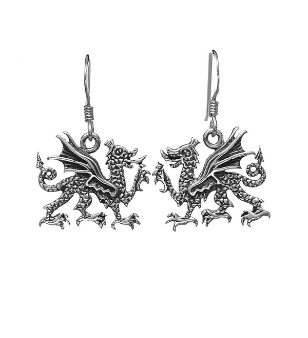 925 Oxidized Sterling Silver Medieval Dragon- Symbol of Luck and Wisdom Dangle Earrings - CW11K3Z8XXZ