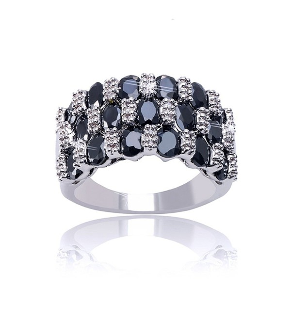 Delicin Jewelry Black and White Rhodium Plated Cubic Zirconia Band Ring - CH12MD5BV13