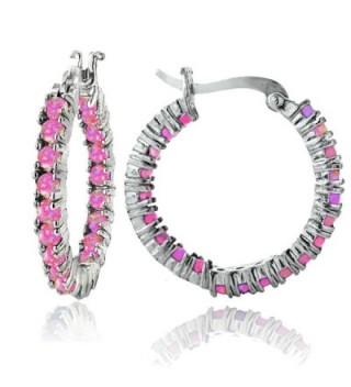 Sterling Silver Created Opal Inside Out Hoop Earrings - Pink - C112J57HYTZ