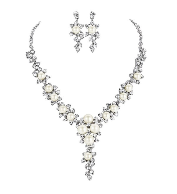 FAYBOX Glamorous Crystal Rhinestone Beading Necklace Earrings Wedding Jewelry Sets - C212C9ZCRY7
