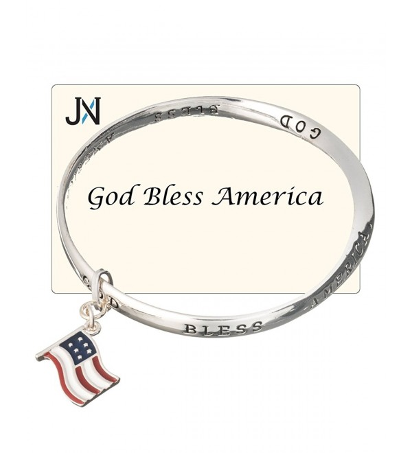 God Bless America American Flag Charm Twist Bracelet Inspirational Card by Jewelry Nexus - CY11DX8K1JD