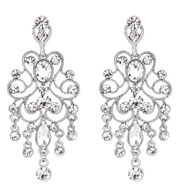 BriLove Women's Vintaged Style Bridal Crystal Drop Hollow Chandelier Filigree Dangle Earrings - Clear Silver-Tone - C411S4TQDJX