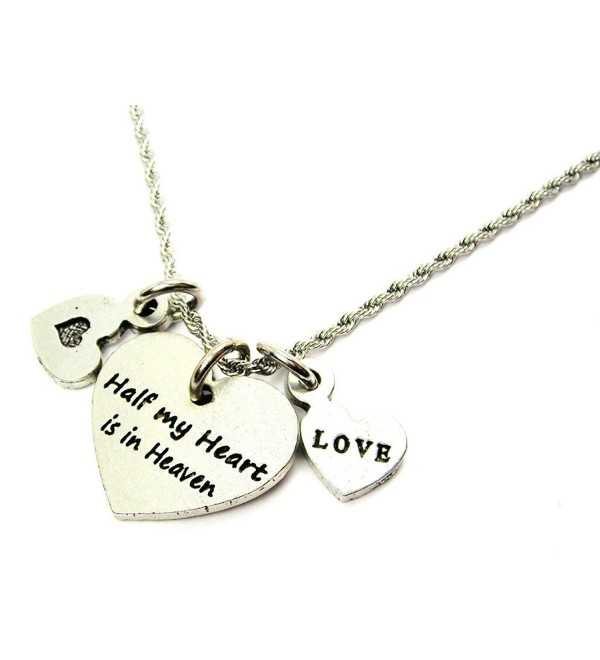 "Chubby Chico Charms Half My Heart Is In Heaven 20"" Stainless Steel Rope Chain Necklace - C712CD08ZZX"