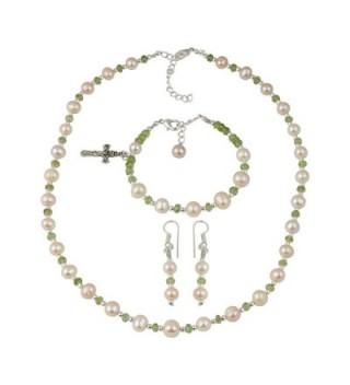 Peridot Orange Cultured Freshwater Pearl Fashion Necklace Earrings Bracelet Jewelry for Women - CQ12LGT75OT