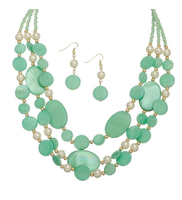 Turquoise Multi Row Shell and Pearl Necklace and Earring Set - C011OFAH6VX