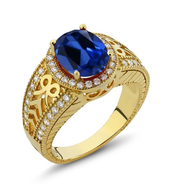 4.12 Ct Oval Blue Created Sapphire 925 Yellow Gold Plated Silver Ring (Available in size 5- 6- 7- 8- 9) - C011QK3CDPD