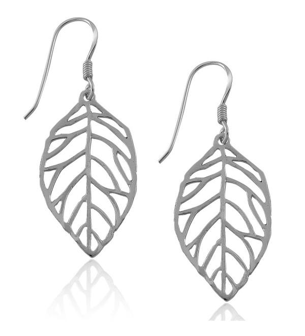 MIMI Sterling Silver Cut Out Leaf Drop Dangle Earrings - C312D70XY7H