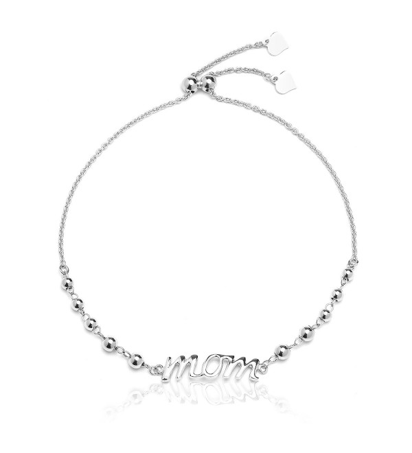Sterling Silver Adjustable Mom Bracelet with Beads for Mothers- Expandable 9 Inch - C112N1V6ML3
