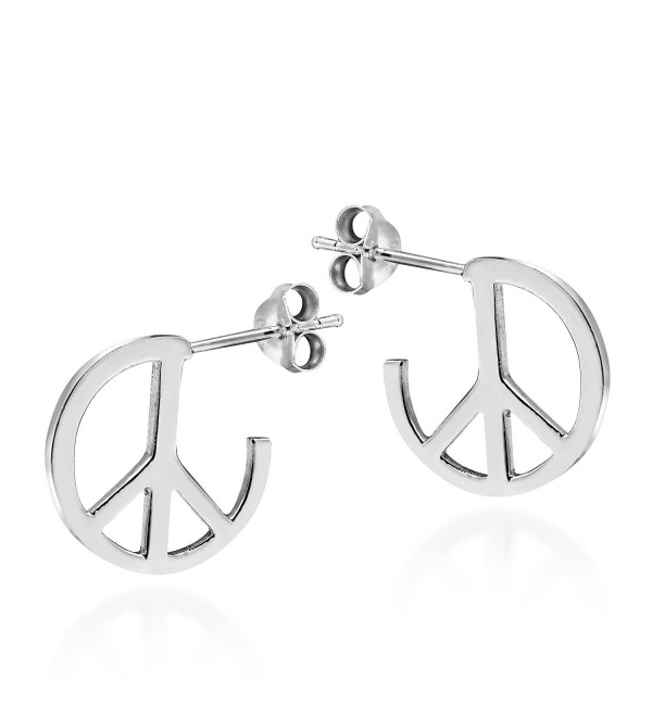 Contempo Quarter Round Peace Sign .925 Sterling Silver Earrings - C811ISIJYM3