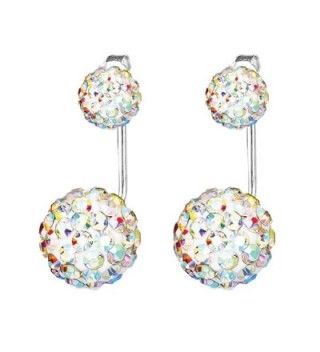 BodyJ4You Earrings Jacket Ear Stud Reverse Crystal Paved Ball Jewelry Set - Aurora - CX182MHD2C7