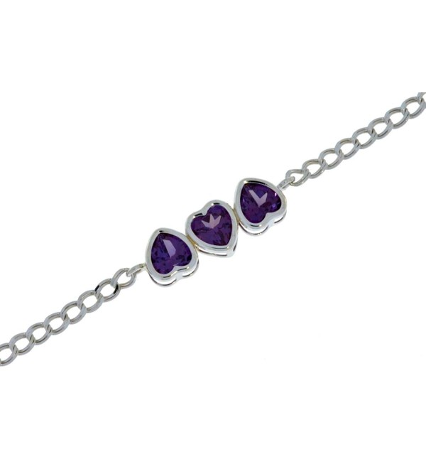 3 Hearts Created Alexandrite Heart Bezel Bracelet .925 Sterling Silver Rhodium Finish - CP120N60FBV