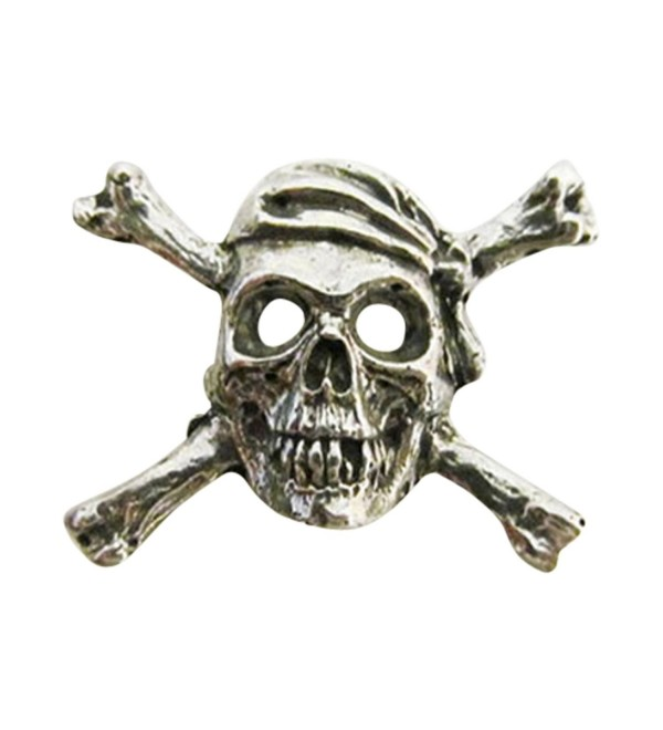 Creative Pewter Designs- Pewter Skull and Crossbones Lapel Pin Brooch- Antiqued Finish- A167 - CU122XIC1JL