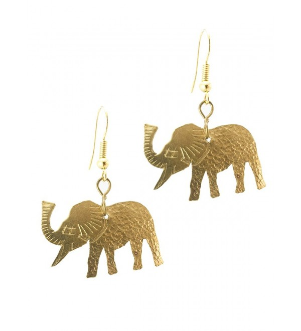 Maisha Fair Trade Hammered Brass Elephant Drop Earring - C511C1HKU43