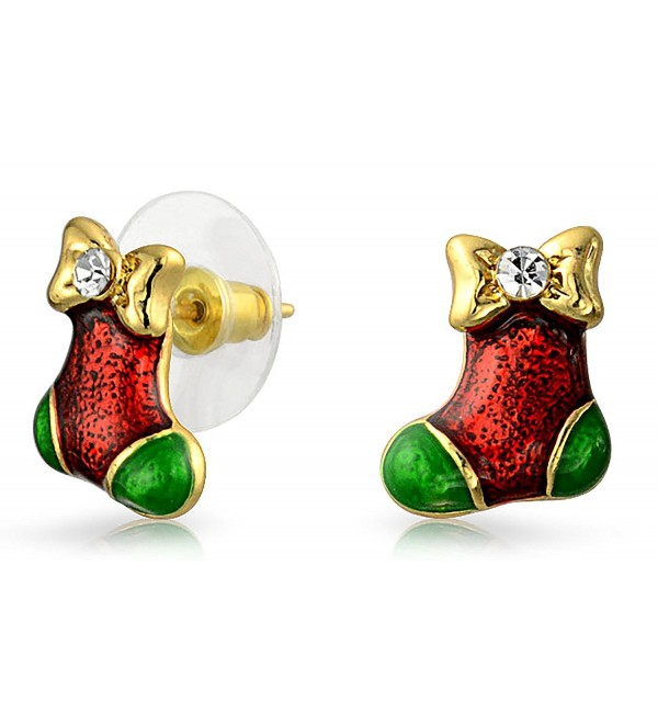 Bling Jewelry Crystal Christmas Stocking Enamel Bow Studs Gold Plated Alloy - CL11RI572HB