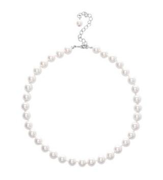 """Jane Stone Simulated White Pearl Choker Collar Necklace for Women Mother 16"""" - Simulated White Pearl - CT12N1W3IYT"""