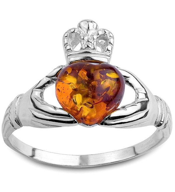 Honey Amber and Sterling Silver Irish Claddagh Ring - CS112BXZONJ