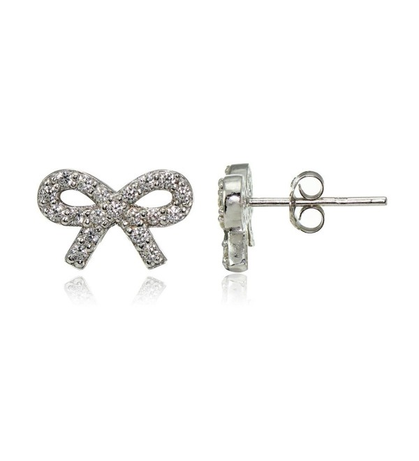 Sterling Silver Cubic Zirconia Bow Stud Earrings - CD12O0VU633