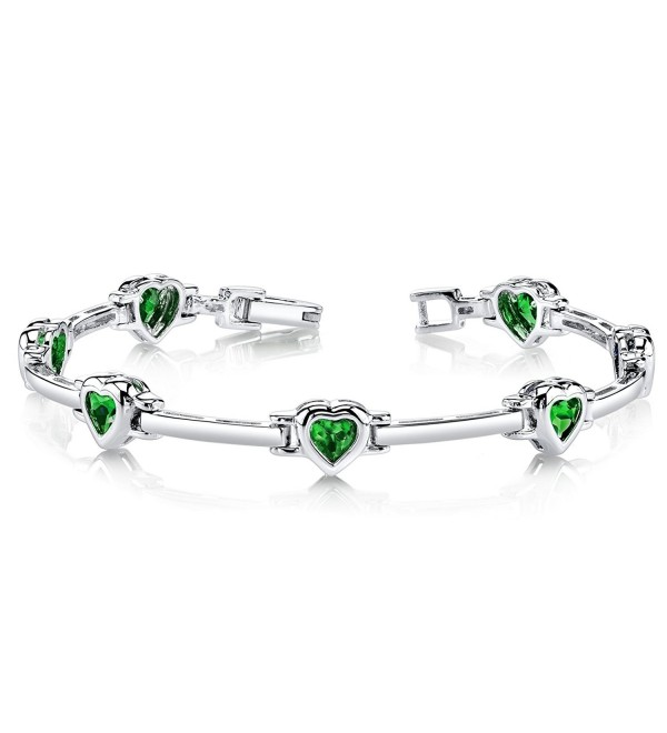 Heart Shape Simulated Emerald Bracelet in Sterling Silver Rhodium Nickel Finish - CE11FETKJ19