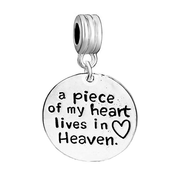 "Memorial Charm ""a piece of my heart lives in heaven "" European Spacer Dangling Compatible Charm - CK17Z5W63TW"