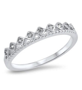 Clear CZ Princess Tiara Queen Crown Ring New 925 Sterling Silver Band Sizes 4-10 - CD12MX43CES