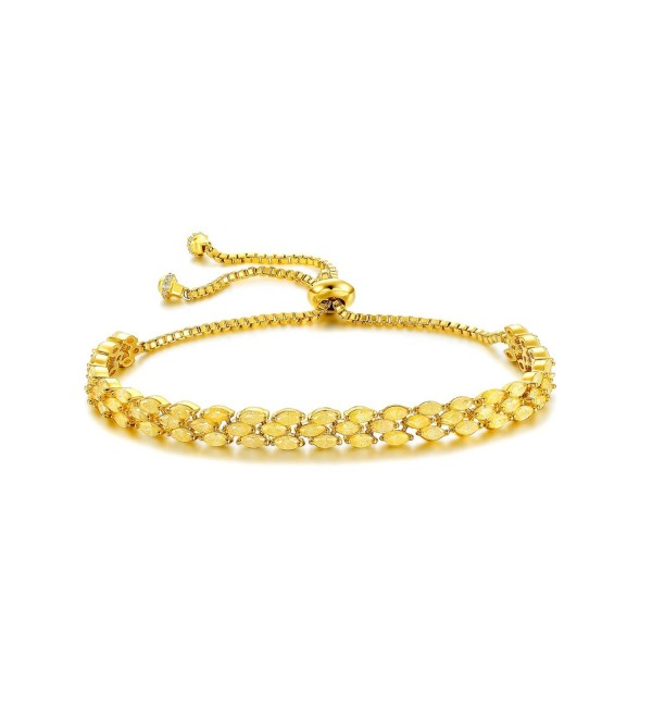 Serend 18k Gold Plated Fashion Adjustable Tennis Bracelet with Citrine Cubic Zirconia Diamond - CX184HM3KRK