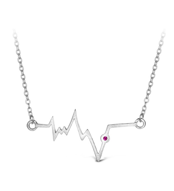 "T400 Jewelers ""Heartbeat"" 925 Sterling Silver Lifeline Pulse Pendant Necklace- 17"" Love Gift - CY120XCCSGP"