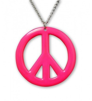 Hot Pink Hippie Peace Sign Enamel Finish On Pewter Pendant Necklace - CZ12B0CS4CT