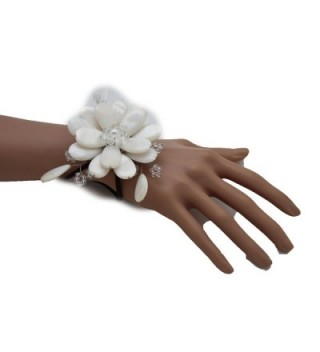 TFJ Women Fashion Jewelry Hand Elastic Metal Cuff Bracelet Slave Big Flower Charm White - CF12EA4BDM1