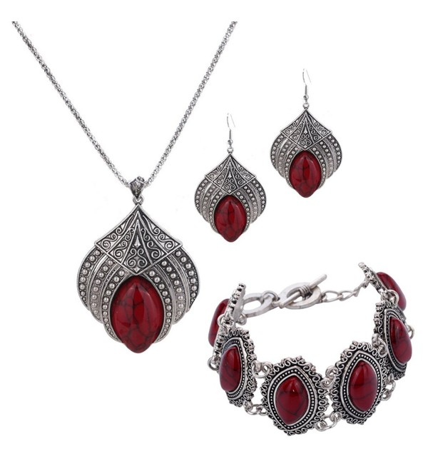 YAZILIND Jewelry Sets Silver Plated Retro Turquoise Claw Flower Pendant Necklace Drop Earrings Bracelet - Red - CK12FMI9L79
