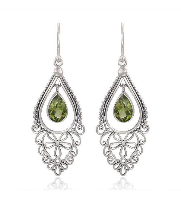925 Sterling Silver Bali Filigree Chandelier Design w/ Green Peridot Dangle Earrings - CB126GZ6CD3