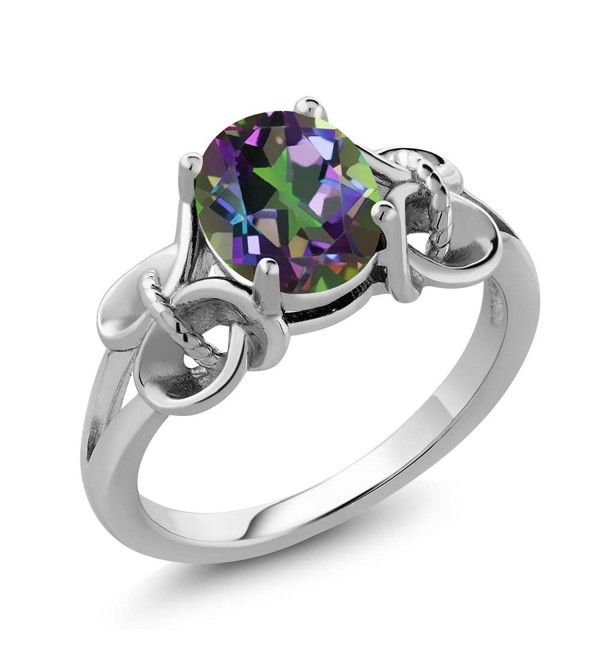 Sterling Silver Mystic Topaz Ring Green Oval 9X7MM (2.30 cttw- Available in size 5- 6- 7- 8- 9) - C9116T1STUJ