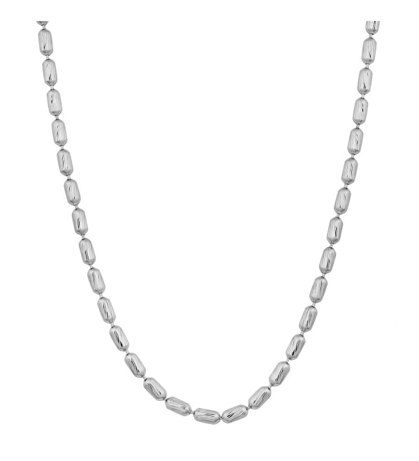 Sterling Silver Diamond-Cut Bead Link Necklace (18- 20 or 24 inch) - CI117KPK49H