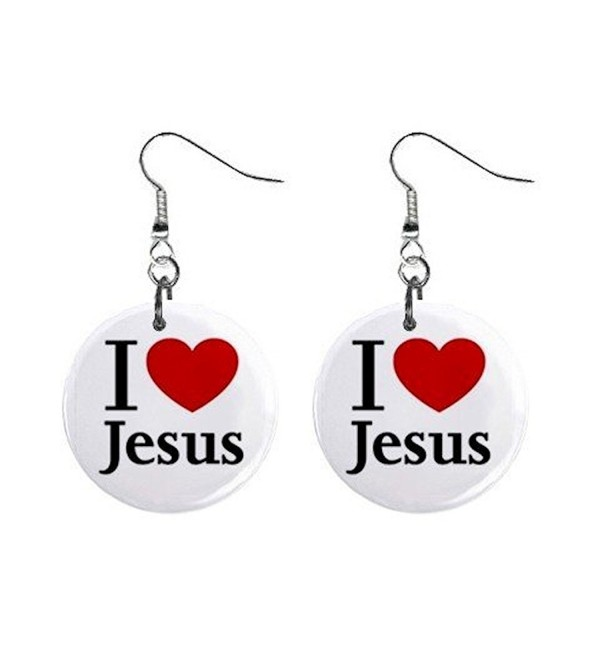 I Love Jesus Dangle Earrings Jewelry 1 inch Buttons 12628344 - CA116WTPBW7