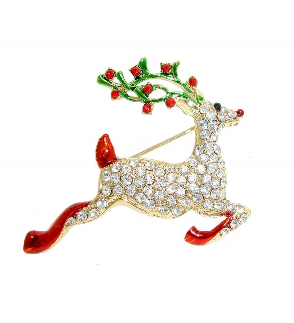 TTjewelry Pretty Christmas Deer Gold-tone Brooch Pin Clear Rhinestone Crystal - CP129NC7LNL