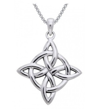 Jewelry Trends Sterling Silver Celtic Good Luck Knot Pendant on 18 Inch Box Chain Necklace - C911W4UR7HF