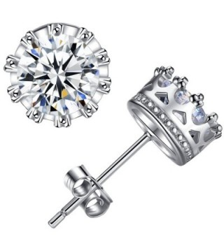 ANEWISH Jewelry Diamond Womens Zirconia 925 Sterling Silver Bride Stud Earrings for Lady Girl - CT17YUQHX69