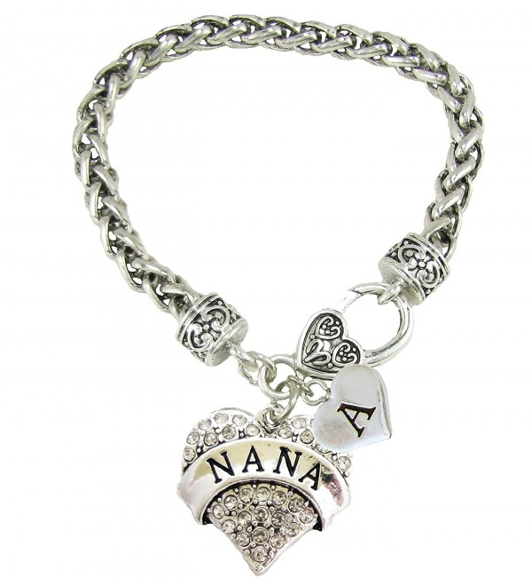 Custom Nana Silver Lobster Claw Bracelet Heart Jewelry Grandma Choose Initial - C9188UL8IUU