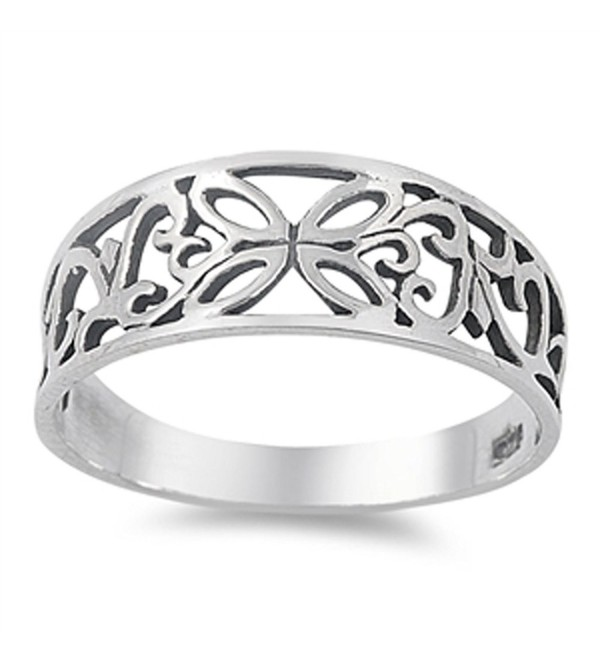 Oxidized Butterfly Filigree Cutout Ring New .925 Sterling Silver Band Sizes 4-12 - C2187YTW2QS