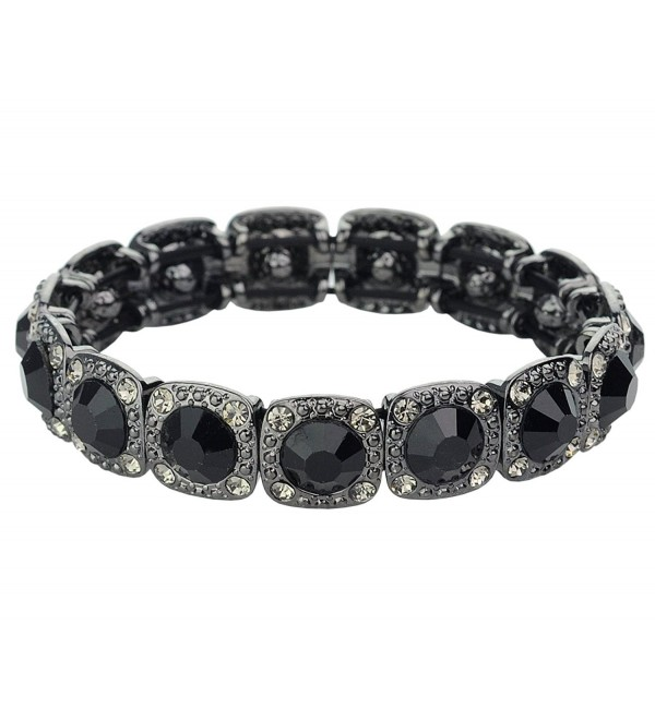 Women's Round Stone Cut Stud Stretch Bracelet - Black - CU185YE6STD