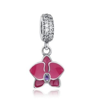 The Kiss Orchid With Radiant Clear & Purple CZ Dangle 925 Sterling Silver Bead Fits European Charm Bracelet - CX17XXNQGMI