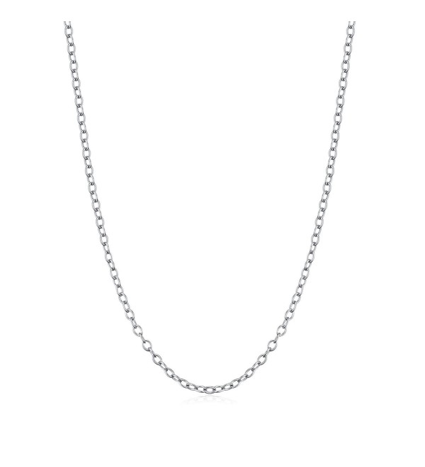 Precious Time Jewelry 925 Sterling Silver Chain Necklaces 18K White Gold Plated 40cm - CV185IX0EQN