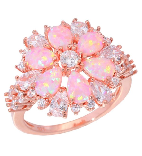 CiNily Pink Opal Zircon Women Jewelry Gemstone Rose Gold Plated Ring Size 5-12 - CM17YHZHHMR